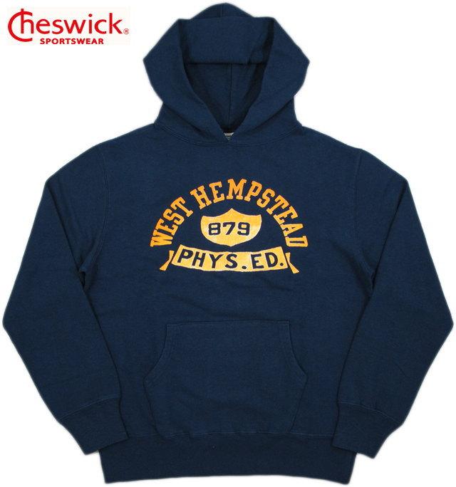 """CHESWICK/チェスウィック COTTON FLEECE L/S HOODED PARKA""""WEST HEMPSTEAD""""ひび割れフロッキープリント入り、フーデッドパーカ/スウェットパーカ NAVY(ネイビー)/CH67394"""