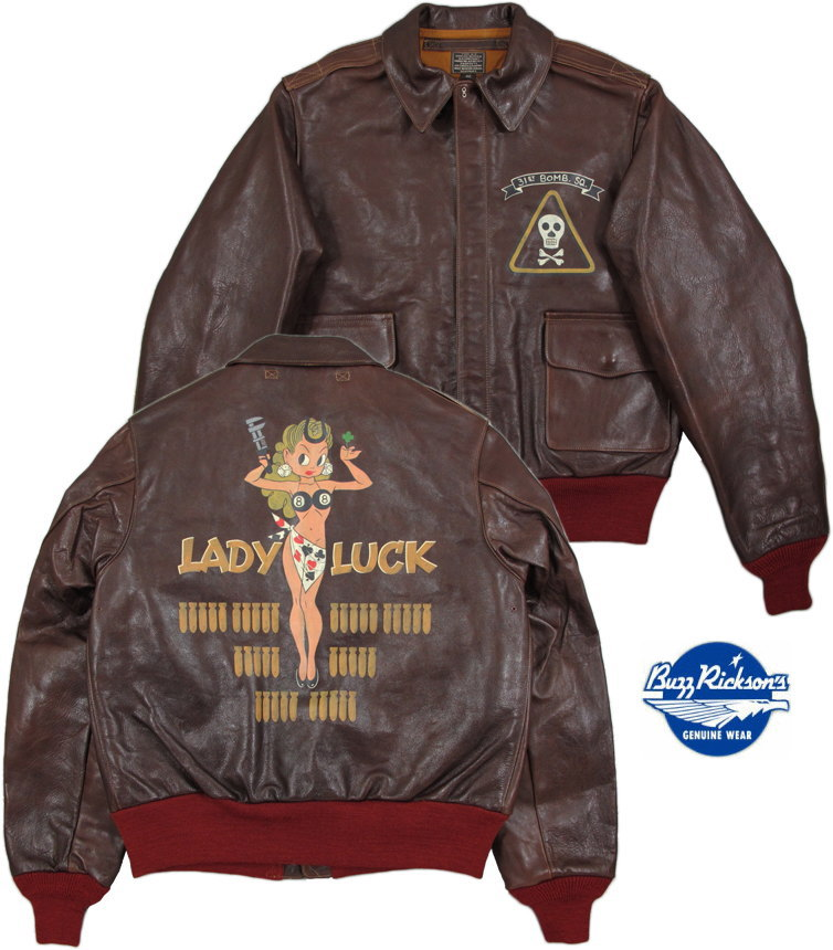 """BUZZ RICKSON'S/バズリクソンズ Jacket, Flying, Summer Type A-2""""BUZZ RICKSON CLO. CO."""" ORDER NO.42-18775-P RED RIB VERSION BACK PAINT""""LADY LUCK""""レディーラックA-2Lot/BR80487"""