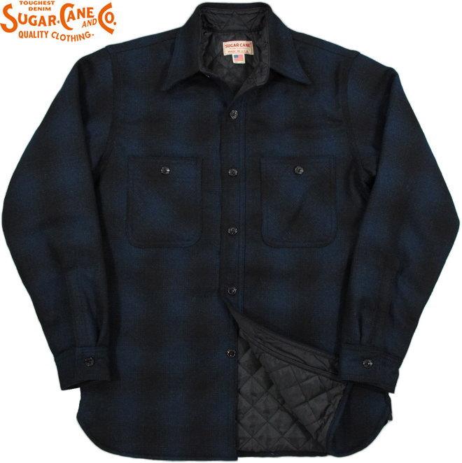 SUGAR CANE/シュガーケーン Made in U.S.A. WOOL CHECK LINED WORK SHIRTオンブレーチェック、裏地キルティング・ワークシャツ/ C.P.Oシャツジャケット NAVY(ネイビー×ブラック)/SC27689