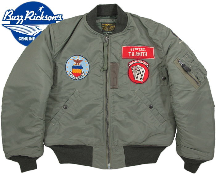 "BUZZ RICKSON'S/バズリクソンズ Jacket,Flying,Intermediate Type MA-1 ""LION UNIFORM INC.""77th Tac. Fighter Sqdn 20th Tac. Fighter Wing/第77戦闘飛行隊ライオンユニフォーム・MA-1ファースト/BR14113"
