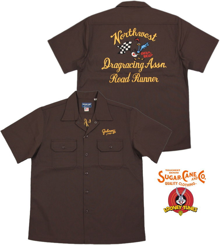 "SUGAR CANE/シュガーケーン MADE IN U.S.A. ROAD RUNNER S/S WORK SHIRT""DRAG RACING ASSN.""ロードランナー背中刺繍入り、半袖ワークシャツ BROWN(ブラウン)/SC37640"