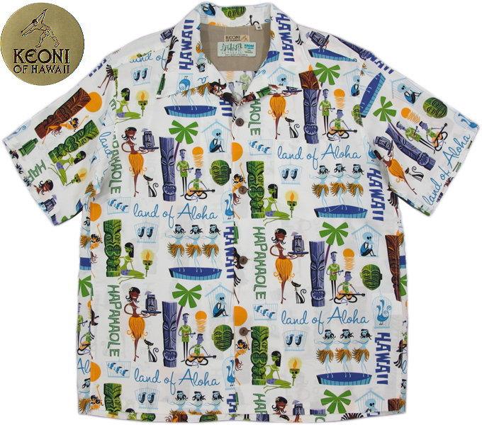 "KEONI OF HAWAII/ケオニオブハワイ""MODERN TROPICS"" by SHAG(「モダン・トロピックス」byシャグ) 101)WHITE(ホワイト)/SS37655"