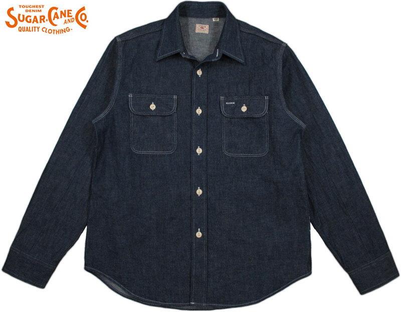SUGAR CANE/シュガーケーン BLUE DENIM L/S WORK SHIRTデニムワークシャツ/デニムシャツ/デニシャツ A.BLUE(ワンウォッシュ)/SC27852