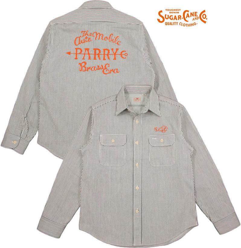 SUGAR CANE/シュガーケーン HICKORY L/S WORK SHIRT W/EMB'D背中チェーン刺繍入り、ヒッコリーストライプ・ワークシャツ OFF WHITE(オフホワイト×ネイビー)/SC27988