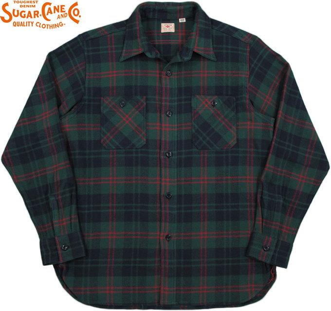 SUGAR CANE/シュガーケーン TWILL CHECK L/S WORK SHIRTツイルチェック ワークシャツ/チェックシャツ/綿ネルシャツ GREEN(グリーン×ネイビー)/SC27966