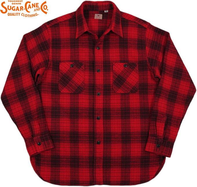 SUGAR CANE/シュガーケーン TWILL CHECK L/S WORK SHIRTツイルチェック ワークシャツ/チェックシャツ/綿ネルシャツ RED(レッド×ブラック)/SC27962