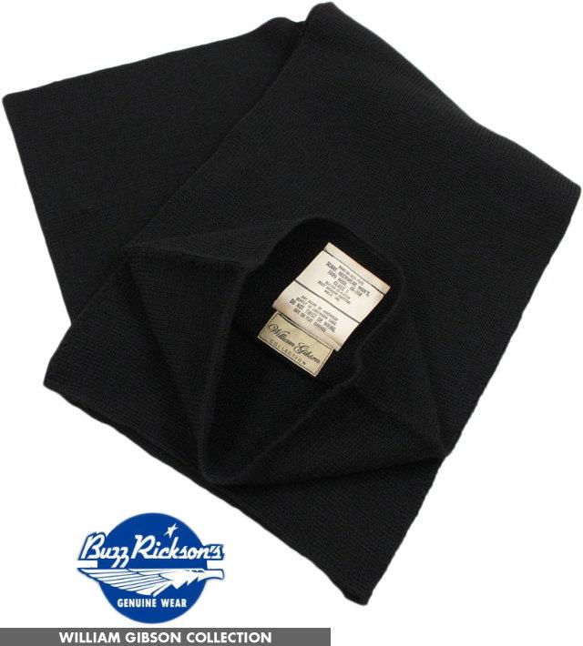 BUZZ RICKSON'S/バズリクソンズ BLACK WOOL SCARF,NECKWEAR William Gibson Collection ウィリアム・ギブソン コレクション、ブラック ウール ストール/スカーフ/マフラーBR02561