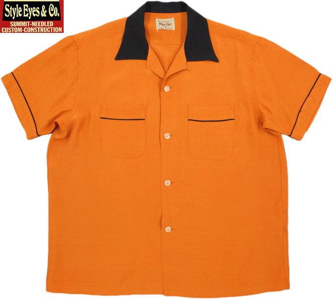 """STYLE EYES/スタイルアイズ RAYON BOWLING SHIRT""""TWO-TONE"""" レーヨンボウリングシャツ ORANGE(オレンジ)/SE37802"""