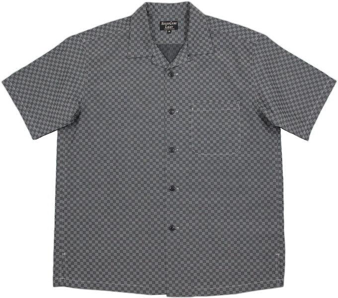 SUGAR CANE Light/シュガーケーン ライト 100/2 CHECKERED PATTERN JACQUARD S/S OPEN SHIRTジャガード織り、チェッカードパターン、半袖オープンカラーシャツ BLACK(ブラック)/SC37903