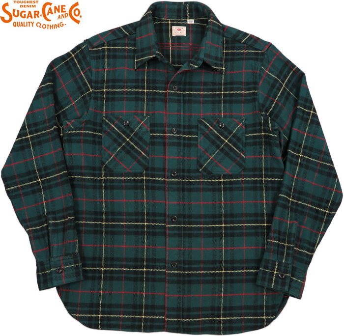 SUGAR CANE/シュガーケーン TWILL CHECK L/S WORK SHIRT ツイルチェック ワークシャツ/チェックシャツ/綿ネルシャツ GREEN(グリーン)/SC28232
