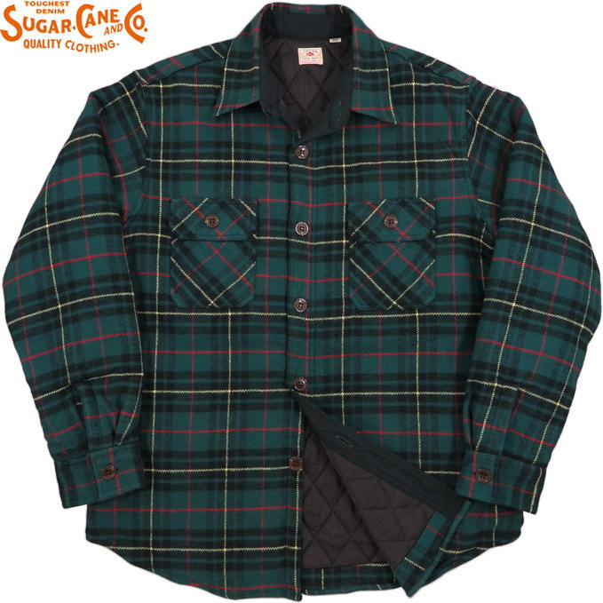 SUGAR CANE/シュガーケーン TWILL CHECK C.P.O. SHIRT JACKET ツイルチェック C.P.O.シャツジャケット/裏地キルティング付き、綿ネルチェックシャツ GREEN(グリーン)/SC14513