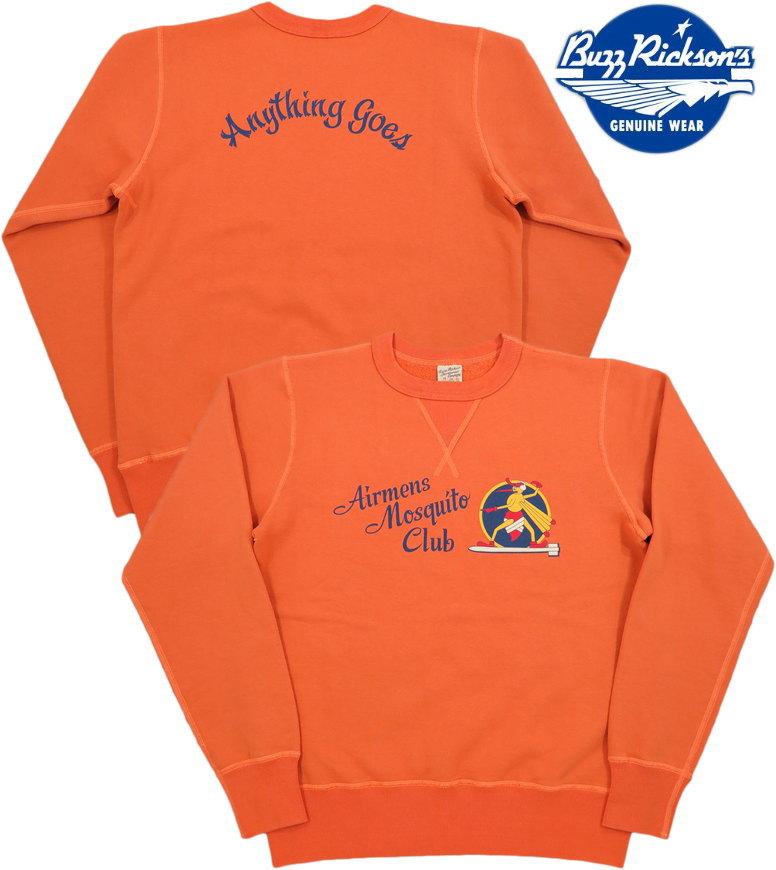 """BUZZ RICKSON'S/バズリクソンズ SET-IN CREW SWEAT""""MOSQUITO CLUB"""" セットインスリーブ・スウェットシャツ/モスキートクラブプリント トレーナー ORANGE(オレンジ)/BR68396"""