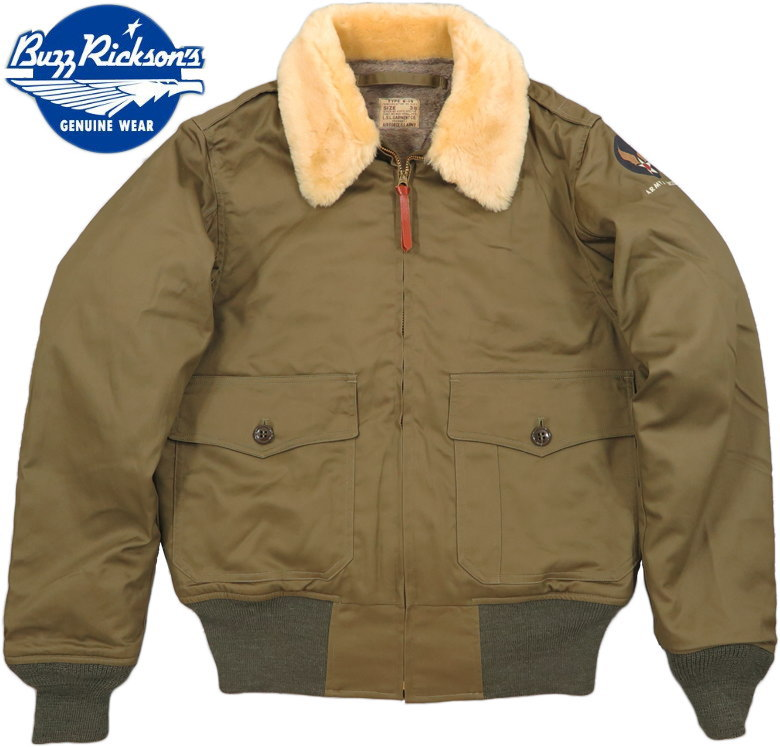 "BUZZ RICKSON'S/バズリクソンズ Jacket, Flying, Intermediate Type B-10""L.S.L. GARMENT CO.""NATURAL MOUTON COLLAR L.S.L. ガーメント社製、ホワイトムートン襟B-10 01)OLIVE DRAB(オリーブドラブ)/ Lot;BR14388"