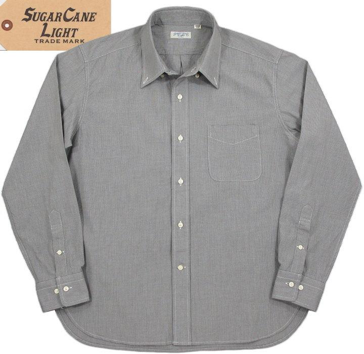 SUGAR CANE Light/シュガーケーン ライト HOUNDTOOTH L/S B.D SHIRTハウンドトゥース、ボタンダウンシャツ/千鳥格子ボタンダウンシャツ BLACK(ブラック)/SC28168