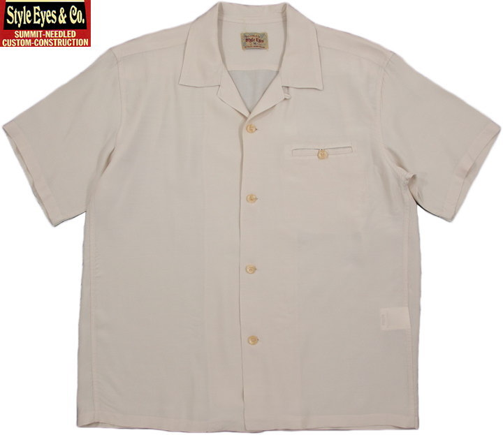 "STYLE EYES/スタイルアイズ""PLAIN"" RAYON BOWLING SHIRT レーヨン無地ボウリングシャツ/ボーリングシャツ OFF WHITE(オフホワイト)/SE38072"