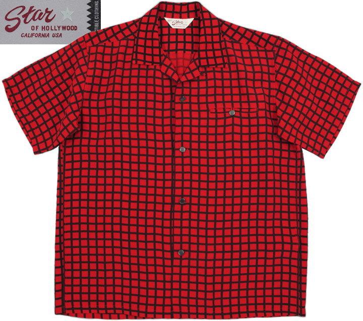 """STAR OF HOLLYWOOD/スターオブハリウッド""""SQUARE GRID"""" HIGH DENSITY RAYON S/S OPEN SHIRT 格子柄、高密度レーヨン半袖オープンカラーシャツ RED(レッド×ブラック)/SH38126"""