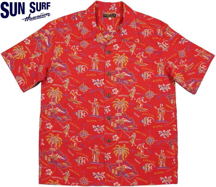 (★クーポン発行) サンサーフ ハワインアシャツ 半袖 SS38107 アロハシャツ SUN SURF/ コットンリネンスラブヤーンオープンシャツ 「HELE-MAI-E」