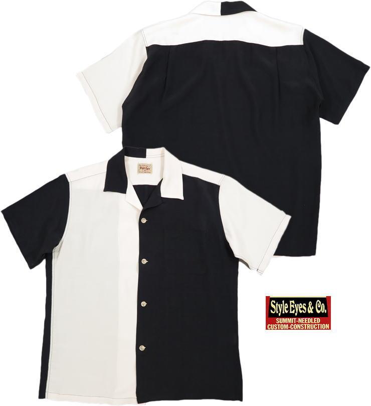 "STYLE EYES/スタイルアイズ""DUO TONE"" S/S RAYON BOWLING SHIRT デュオトーン・レーヨンボウリングシャツ OFF WHITE(オフホワイト)/SE38370"