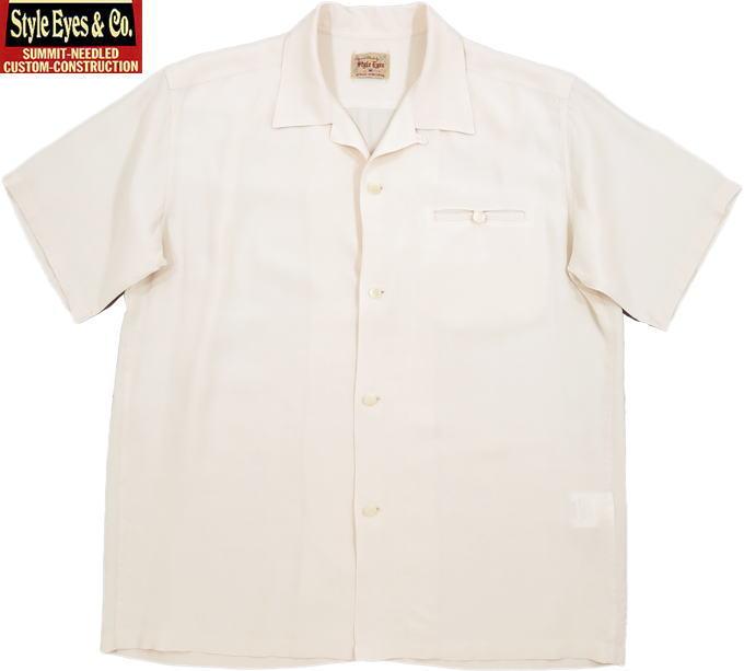 """STYLE EYES/スタイルアイズ""""PLAIN"""" S/S RAYON BOWLING SHIRT レーヨンボウリングシャツ OFF WHITE(オフホワイト)/SE38368"""