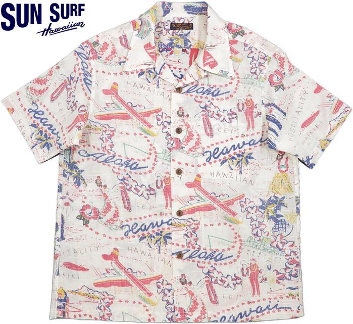"""SUN SURF/サンサーフ""""HAWAII CALLS""""ハワイ・コールズCOTTON LINEN SLUBYARN OPEN SHIRTSコットン×リネン、スラブヤーン・半袖アロハシャツ/綿麻ハワイアンシャツ OFF WHITE(オフホワイト)/SS38411"""