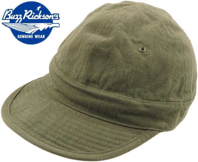 本物だけが持つ、独特の雰囲気が堪らない♪帽子にさえ、クラフトマンシップを込めたバズリクソンズの本格派ミリタリーキャップ★ BUZZ RICKSON'S/バズリクソンズ HATS,HERRINGBONE TWILL CAPツイルコットン・ヘリンボーンキャップ/ミリタリーキャップ OLIVE(オリーブ)/Lot;BR02669
