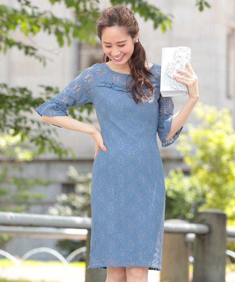 再入荷【 Ava 】219013パーティードレス フォーマルドレス MIYUKIドレス 袖付 膝丈 青 ブルー