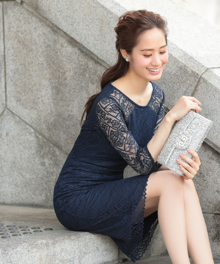 【 Ava 】519002パーティードレス フォーマルドレス MIYUKIドレス 袖付 膝丈 ネイビー プチプラ