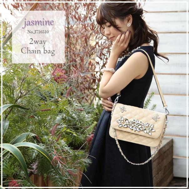 【 jasmine】ビジューバッグ クラッチバック ショルダーバック J716510 MIYUKIドレス ブラック 黒