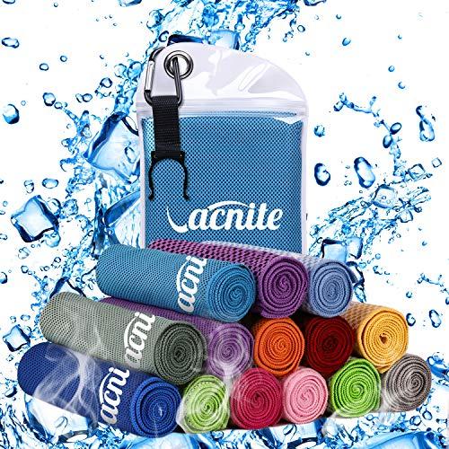 VACNITE クールタオル 速乾タオル 超吸水 軽量 速乾 熱中症対策 100×30cm 1枚 防水袋付き(ブルー)