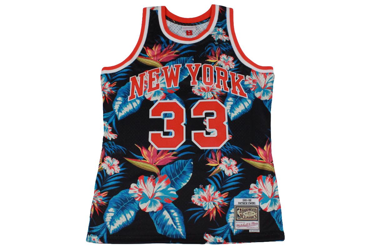 online store da125 cc727 (☆) Mitchel &ness Mitchell & Ness basketball uniform NBA floral swing man  jersey New York Knicks #33 Patrick Ewing