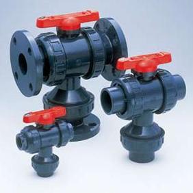 旭有機材工業 三方ボールバルブ23型 U-PVC製 フランジ形 40A V23LVUEF040
