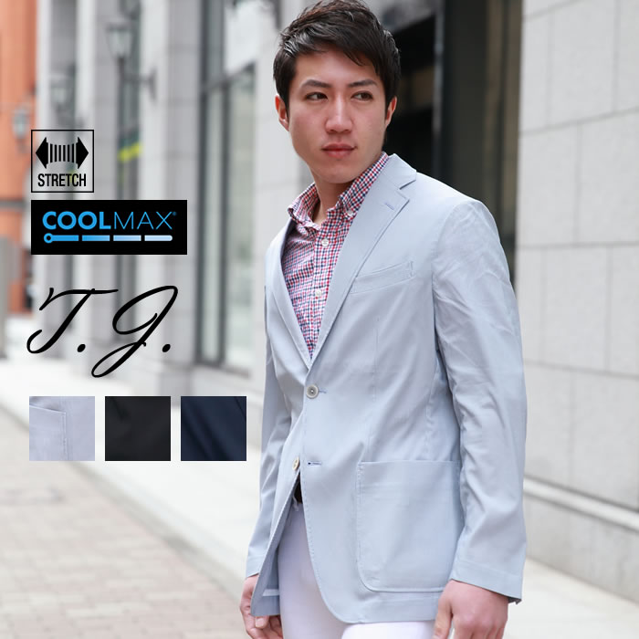COOLMAXストレッチジャケット メンズ ビジネスジャケット テーラードジャケット M L XL 薄手 クールマックス サッカー素材 春夏 ビジネスカジュアル 涼感 ドライ カジュアルジャケット 【NO BRAND(ノーブランド)】 ブラック ブルー ネイビー    ---
