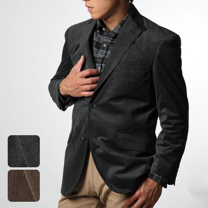 ビジネスジャケット メンズ テーラードジャケット ヘリンボーン柄 2ボタン 3色 M L XL 秋冬 カジュアル シンプル アウター カジュアルジャケット リコットプリント 【NO BRAND(ノーブランド)】 チャコールグレイ ブラウン     ---