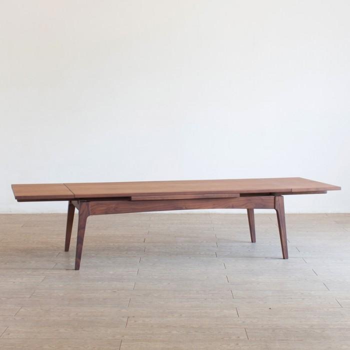 北欧家具 ダイニングテーブル 無垢材 伸長できるウォールナットのローテーブル