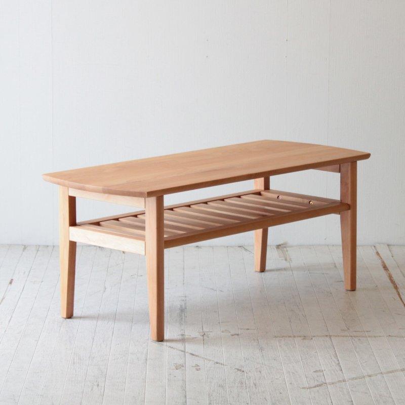 北欧家具 ローテーブル 無垢材 可愛らしいデザインの棚付きリビングテーブル