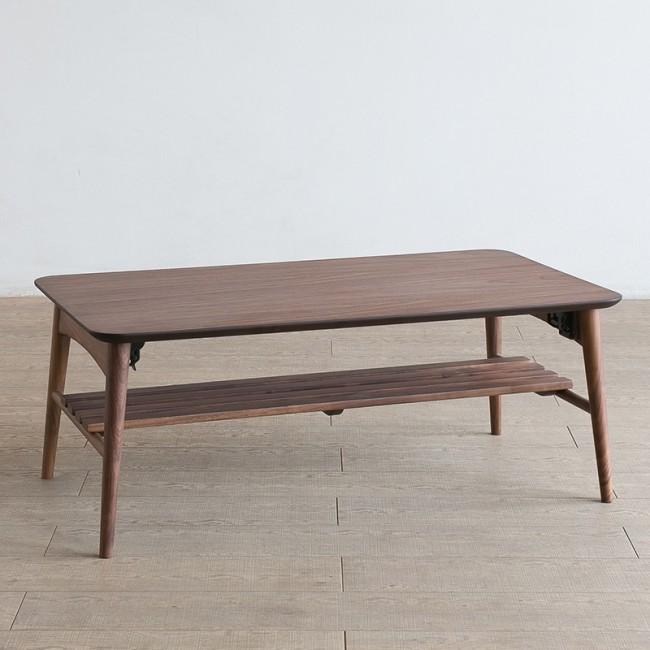北欧家具 ダイニングテーブル 無垢材 シャープな雰囲気がお洒落で便利な棚付きテーブル NRT-LT-900-2-AM【折り畳み式】
