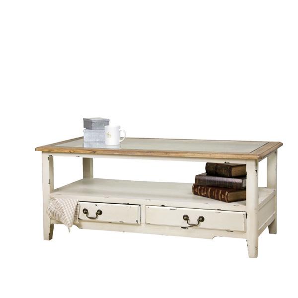 ジャンクなホワイトセンターテーブル NRT-CT-110WH パイン材