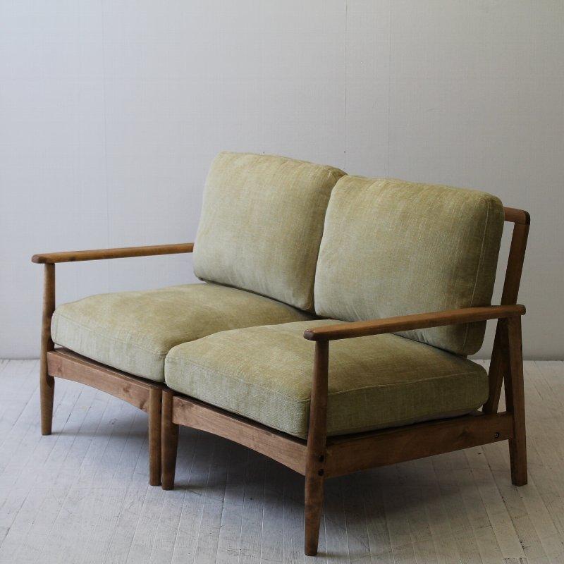 北欧家具 ダイニングソファ 無垢材 和にも洋にもマッチするデザインの2Pソファ。NRT-S-6332P 2Pサイズ