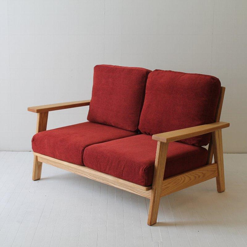 北欧家具 ダイニングソファ 無垢材 優しい色合いでお部屋に溶け込む2Pスノコソファ。NRT-D-S-972P-B 訳ありアウトレット品