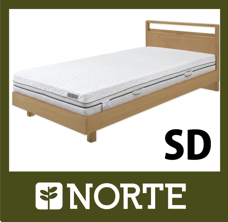 すのこ ベッド アルダー材 清潔で軽く、無駄がない美しいセミダブルベッド NRT-BED-7255SD