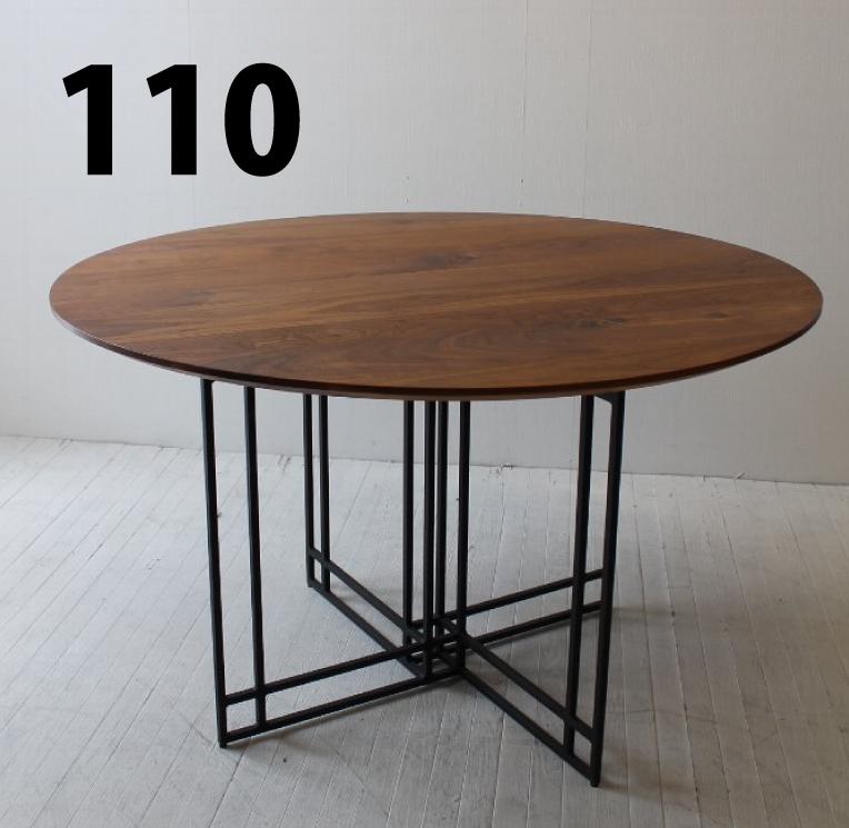 110 カスタム円テーブル オーダーテーブル ホワイトオーク/ウォールナット/ハードメープル/ブラックチェリー オリジナル鉄脚