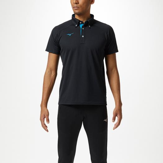 ミズノ公式 ポロシャツ 秀逸 ブラック×ディーバブルー ユニセックス 激安通販
