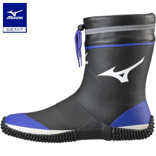 ミズノ公式 作業靴 ワークブーツ ハーフタイプ ジャスタフィットNH1 ユニセックス 捧呈 ◆高品質 ブラック×ブルー
