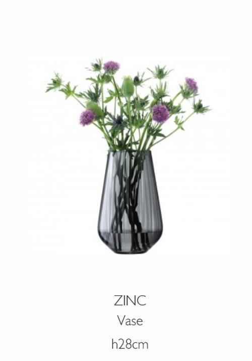 LSA ZINCZinc Vase ベース(花瓶)H28cm【Sheer Zinc グレー】<箱入り>