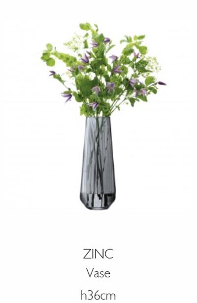 LSA ZINCZinc Vase ベース(花瓶)H36cm【Sheer Zinc グレー】<箱入り>