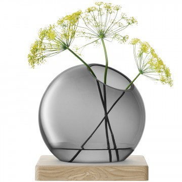 LSA AXISVASE & Ash Base〈grey グレイ〉H220mm 【花瓶】<箱入り>