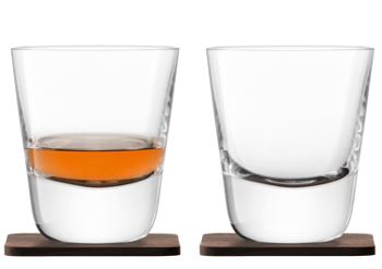 LSA WHISKYARRAN TUMBLERA&WALNUT COASTER タンブラーグラス【2個セット】クリア