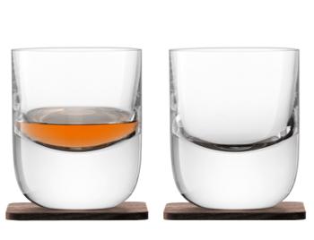 LSA WHISKYRENFREW TUMBLERA&WALNUT COASTER タンブラーグラス【2個セット】クリア