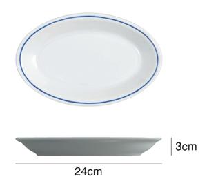 Saturniaのイタリア製食器 [サタルニア]ローマブルーラインオーバルプレート※24cm【5枚セット】