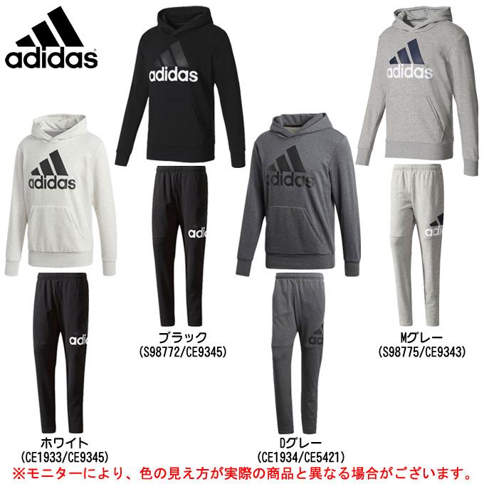 adidas(アディダス)エッセンシャル リニアロゴ スウェットプルオーバーパーカー パンツ 上下セット(BVC41/DSD07)(スポーツ/トレーニング/ランニング/カジュアル/男性用/メンズ)